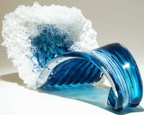 Glass Ocean Sculptures - Paul DeSomma and Marsha Blaker Create Artistic Tidal Waves
