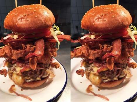 Stacked Carnivorous Burgers - This Epic Burger Containing Multiple Meats is Almost a Foot Tall