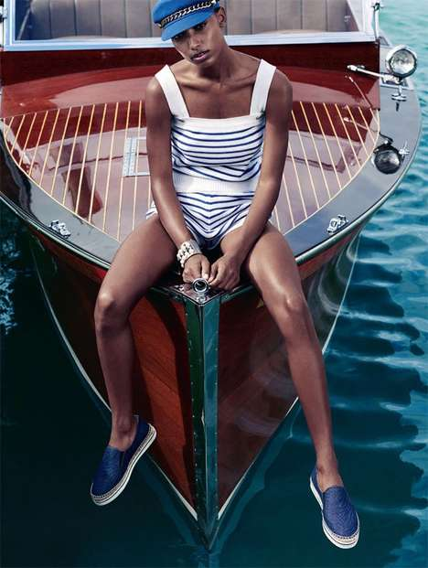 Luxe Nautical Fashion - ELLE UK's Jasmine Tookes Exclusive is Lensed by the Water