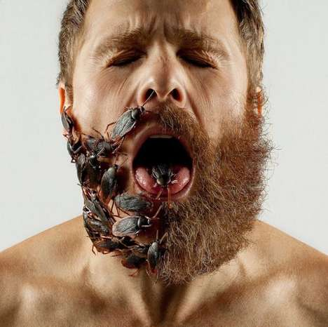 Half-Bearded Photographers - Adrian Alarcon Fills in His Shaven Side with Random Objects