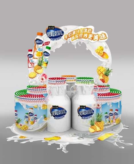 Dripping Dairy Displays - This Yogurt Retail Display Draws Inspiration from Milk Ingredients