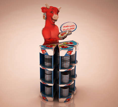 Processed Cheese Displays - These La Vache Qui Rit Displays Accentuate the Brand Mascot's Femininity