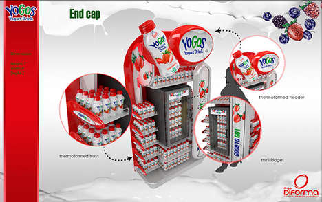 On-the-Go Drink Displays - Yogos Markets the Convenience of Its Refreshment Through Bold End Caps