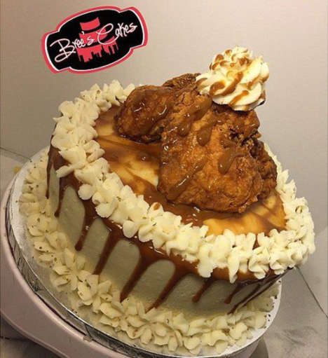Experimental Southern Cakes - The Cornbread Cake Contains Mac and Cheese Plus Fried Chicken on Top