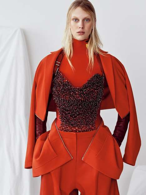 Conceptual Crimson Editorials - Vogue China's 'A Study In Scarlet' Shoot Boasts Artistic Red Fashion