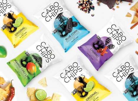 Exotic Snack Packaging - Cabo Chips's Updated Brand Identity References Tropical Travels