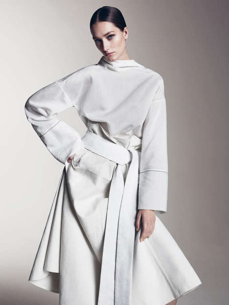 Immaculate Toga Editorials - Josephine Le Tutour is Wonderful in White for Vogue China's May Issue