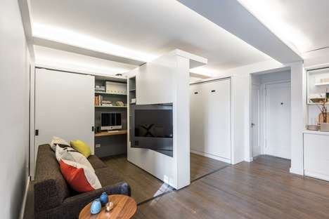 Sliding Wall Apartments - The 5:1 Apartment Uses a Motorized Wall to Switch Between Spaces