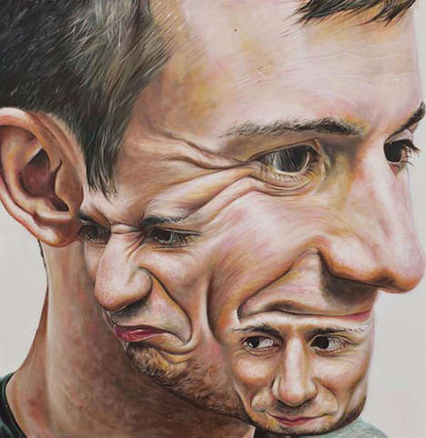 Superimposed Subject Art - Carl Beazley's Painted Works Blend Together Multiple Faces