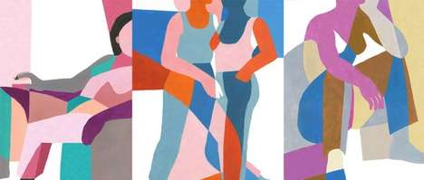 Intertwined Figure Paintings - Ines Longevial's Blended Body Portraits Boast a Vibrant Color Palette