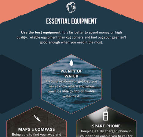 Off-Roading Survival Guides - The Infographic Offers Survival Tips for Road Trips That Are Dangerous