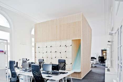 Plywood Workspace Interiors - This Modern Office Space Boasts Wooden Block Storage