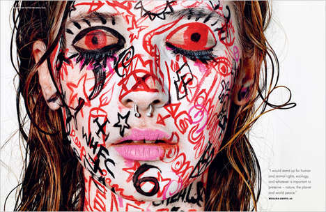 Theatrical Graffiti Cosmetics - This Male Makeup Editorial is Artistic and Visually Bold