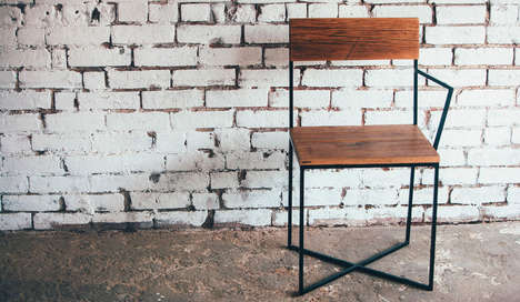 Rustic One-Armed Seating - JM & Sons' Reclaimed Wood Chair Boasts a Simplistic Design