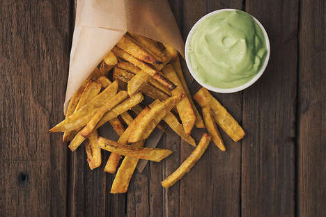 Plantain Fries Recipes - These Baked French Fries Come with a Side of Garlic Avocado Dipping Sauce