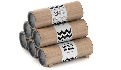 Tubular T-Shirt Packaging - Don & Brook's T-Shirt Tubes Communicate with Modern Hieroglyphs