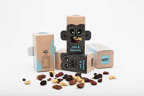 Interactive Monkey Packaging - Exotic Snacks Creates Playful Packs to Engage Kids in Healthy Eating
