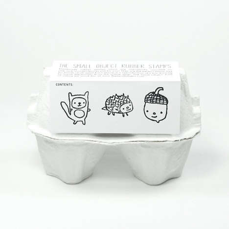 Egg Carton Art Supplies - This Rubber Stamp Kit is Packaged in a Food-Inspired Container
