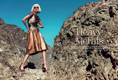 Desert Metallic Fashion - Stylist Arabia Captures Model Paulina in Edgy Shimmering Pieces