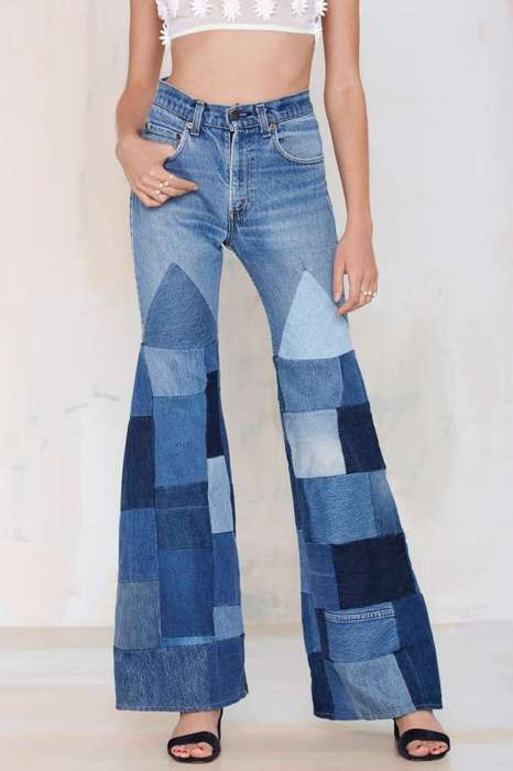 Vintage Patchwork Trousers - Nasty Gal's 70s Jeans Feature Retro Details and a Wide Legged Fit