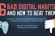 Bad Digital Habits Charts - This Infographic Lists Poor Behavior Relating to Technology and the Web