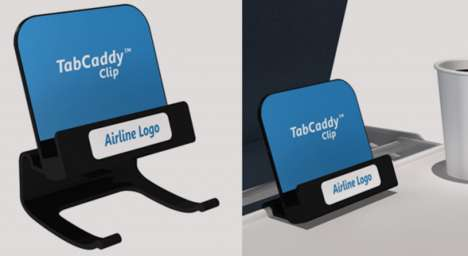 Airplane Tablet Clips - The TabCaddy Clip from Skycast Solutions is a Removable Tablet Holder