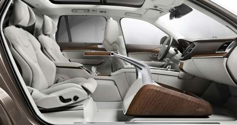 Luxury Car Lounge Concepts - The Volvo Lounge Console Includes a Luxury Footrest and TV Screen