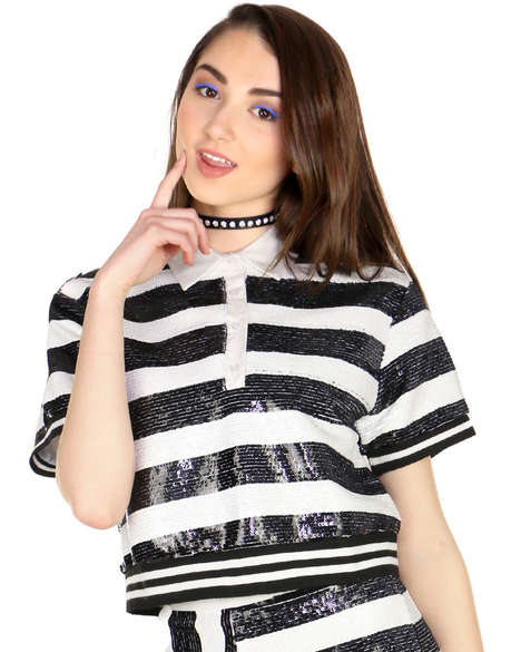 Jailbird Crop Top Fashion - This Striped Sequin Top Makes a Graphic Statement When Worn