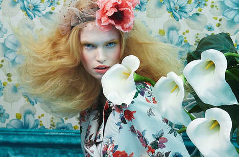 Floral Fantasy Editorials - Glamour Italia's 'Tutte In Fiore' Feature is Whimsically Styled