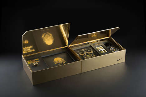 Gilded Athletic Boxes - Packaging for Nike 'The Opening' Stylishly Announces Its Summer Event