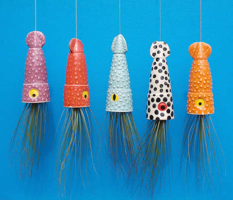 Jellyfish Garden Accessories - These Hanging Painted Planters Are Inspired by Ocean Creatures
