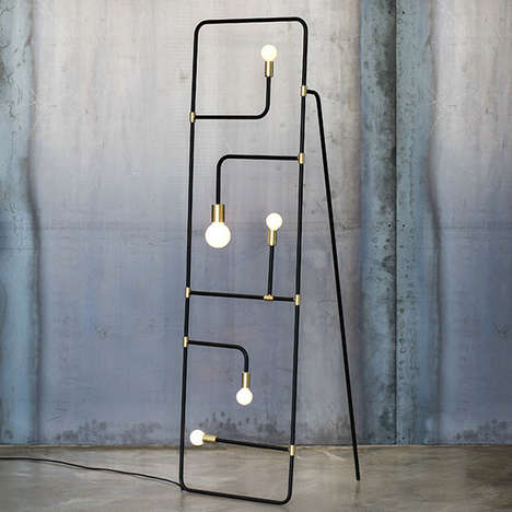 Contemporary Screen Lamps - The Beaubien Light is a Divider-Like Piece Composed of Tubes and Bulbs