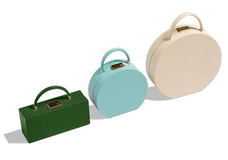 Luxe Minimalism Accessories - BU Wood's Circular Handbags Are Displayed in a Vibrant Palette