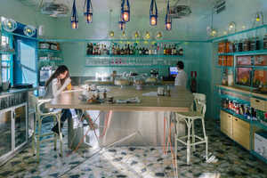 This Stunning Madrid Cafe Features an Oceanic Color Palate