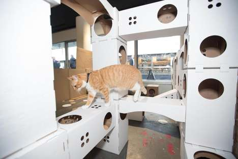 Pop-Up Kitty Playhouses - Poopy Cat's Temporary Pet Jungle Gym is Made of Cardboard