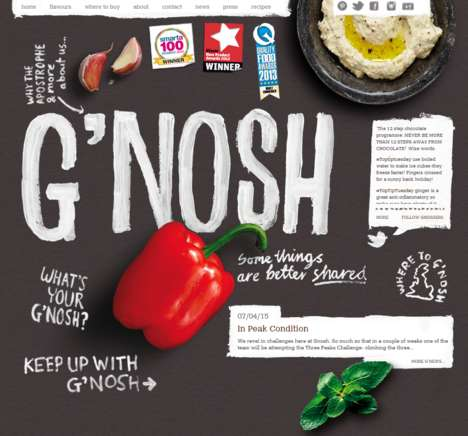 Zesty Dip Websites - G'nosh's Fun Food Website is Set Up Like a Long Hand-Painted Infographic