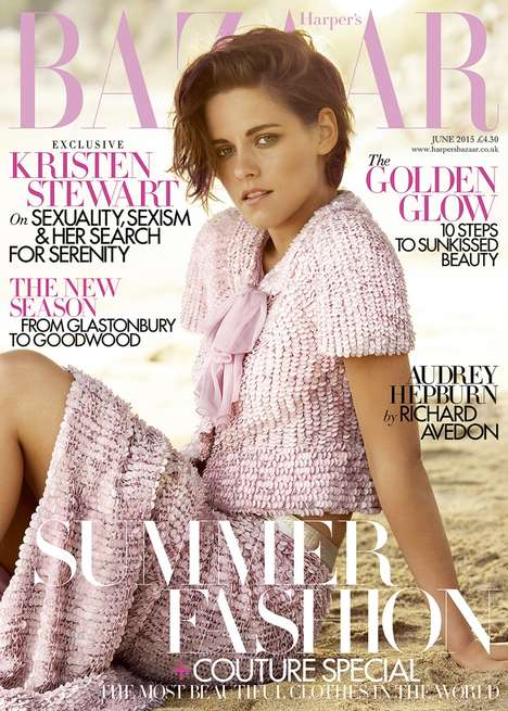 Emancipated Actress Covers - The Kristen Stewart Harper's Bazaar UK Story Features Feminine Styles