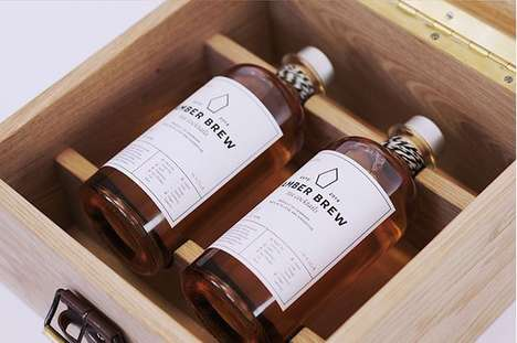 Rustic Tea Cocktails - Amber Brew's Product Branding Boasts Vintage and Artisanal Elements