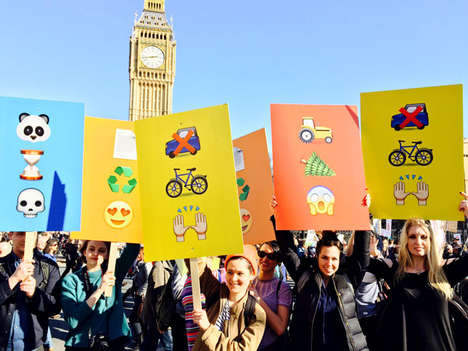 Emoji Protest Signs - Pentagram Delivers Messages Without Words at the People's Climate March