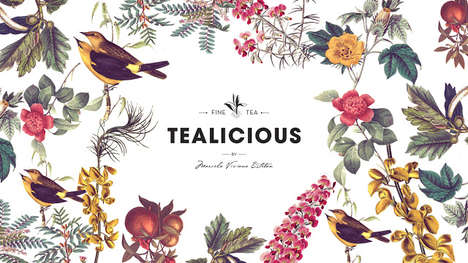 Botanical Tea Branding - Tealicious Packaging Features a Beautiful Array Bird and Floral Designs