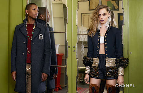 Celebrity Pre-Falls Campaigns - The New Chanel Pre-Fall Campaign Stars Cara Delevingne and Pharrell