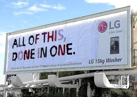 Clothing-Constructed Billboards - The Done in One LG Washing Machine Boasts a Creative Ad Campaign