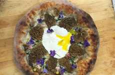 Floral Mushroom Pizzas - Pizza Goon's Mozzarella Egg and Morel Pizza is Garnished with Violets