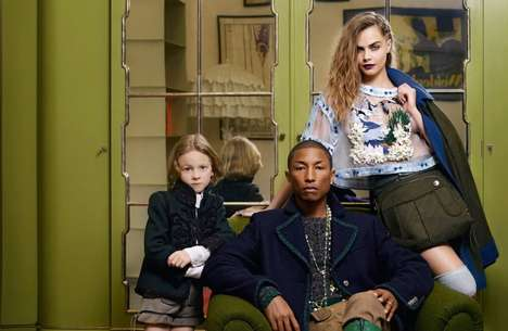 Posh Celebrity Campaigns - Pharrell Williams and Cara Delevingne Pose with Hudson Kroenig