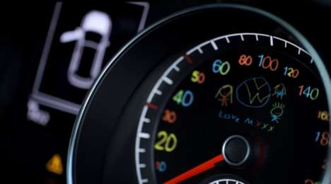 Hand-Drawn Speedometers - Volkswagen's Auto Marketing Stunt Curbs Speeding with Child Drawings