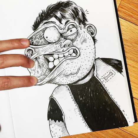 Taunting Interactive Illustrations - Inkteraction Art by Alex Solis Brings 2D Drawings Off the Page
