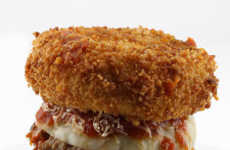Fried Noodle Burger Buns - The Deep Fried Spaghetti Bun Burger is Topped with Mozzarella & Marinara