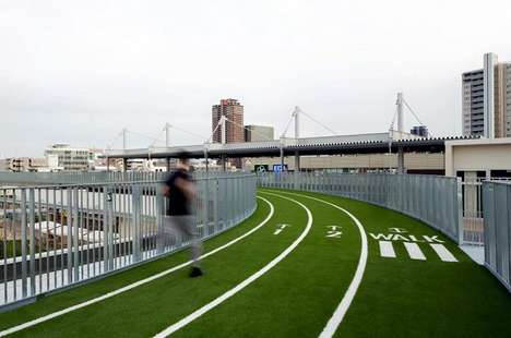 Shopping Mall Fitness Facilities - The Top of Morinomiya Q's Mall Boasts a Runnable Track