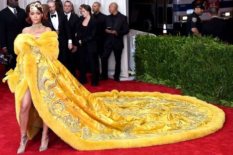 Regal Red Carpet Couture - The Rihanna Met Gala Dress is a Handmade and Vintage Piece