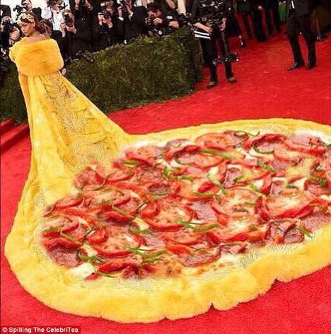 Couture Pizza Memes - The Rihanna Met Gala Dress Goes Viral With Food-Inspired Posts